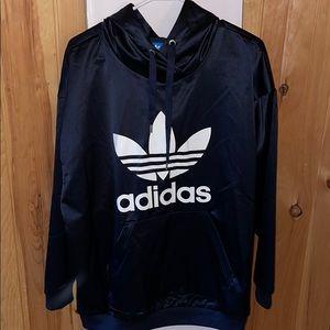 Silky navy Adidas Originals trefoil hoodie